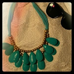 Turquoise Fabric and Teardrop Statement Necklace